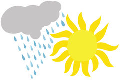 Sun and Rain. Golden Sun and Rain Cloud Illustration Royalty Free Stock Images