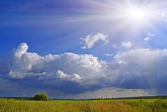 Sun after rain b. Summer landscape with blue sky, green grass and trees Royalty Free Stock Photography