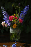 Sun after rain - colorful flowers bouquet in the garden Stock Images