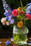 Sun after rain - colorful flowers bouquet in the garden Stock Photography