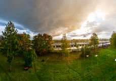 Sun and rain. Epic sky. Nature landscape Royalty Free Stock Images