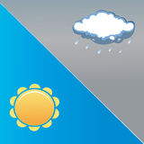Sun and rain. Representation of the weather situation with symbols Stock Photography