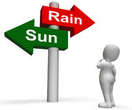 Sun Rain Signpost Shows Weather Forecast Sunny Royalty Free Stock Photo