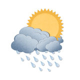 Sun with rain on white background Stock Photography