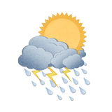 Sun with rain on white background Royalty Free Stock Photo