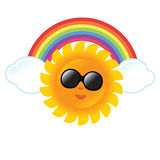 Sun and Rainbow. Summer graphic with sun, clouds, and rainbow Stock Photos
