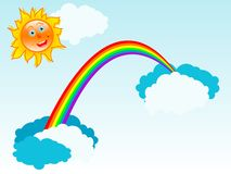 Sun and rainbow. Multi colored magic rainbow and sun Royalty Free Stock Photography