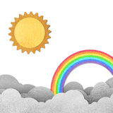 Sun and rainbow. Grunge paper texture moon and rainbow Royalty Free Stock Photo