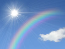Sun and rainbow royalty free stock photography