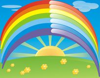 Sun and Rainbow. Vector illustration: rainbow and sun Stock Photo