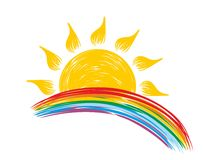 Sun and rainbow Stock Image