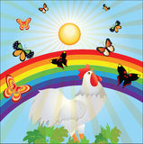 Sun, rainbow, butterflies and cock Royalty Free Stock Photo