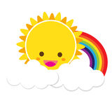 Sun Rainbow and Cloud 002. Smile sun and rainbow with white cloud, blue sky, vector EPS10 Royalty Free Stock Photography