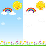 Sun Rainbow and Cloud 001. Smile sun and rainbow with white cloud, blue sky, vector EPS10 Stock Images