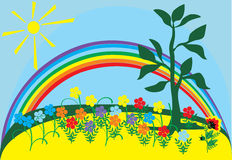 Sun, rainbow and flowers Royalty Free Stock Images