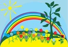 Sun, rainbow and flowers. Illustration with sun, rainbow and flowers Royalty Free Stock Images