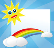 Sun and rainbow frame Stock Images