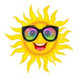 The sun in the rainbow glasses. A merry cartoon sun in protective glasses from the sun. A cheerful cartoon sun on a white background Stock Photos