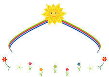 The sun with rainbow. Optimistic concept with summer themes in vector format royalty free illustration