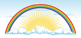 Sun and a rainbow after the rain - vector illustra. Blue sky with some light clouds. in the center of the sun is shining rays of which relate to seven colors of Stock Images