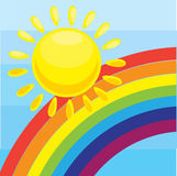 Sun and a rainbow. Vector illustration background with the sun and a rainbow in the children's cartoon style Royalty Free Stock Images