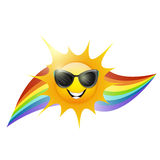 Sun and rainbow. On white background Royalty Free Stock Image
