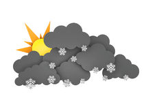 Sun and Rainclouds with Snowflakes on white background. 3d illustration.  Stock Images