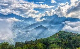 Sun ray atop cloudbase Y Ty, Lao Cao, Vietnam Stock Photo