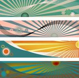 Sun Ray Banner Backgorunds. Four modern banner size headers with sun ray elements perfect for blog headers and backgrounds, jpg and vector Stock Photos