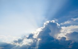 Sun ray, blue sky & clouds. Blue sky & clouds with sun rays, bright & shining, Good for travel or wanderlust background Stock Images