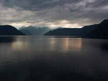 Sun ray in fiords. Sea background. Sun ray in fiords Royalty Free Stock Photos