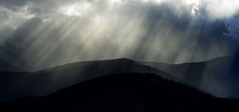 Sun ray at highland of Deqing at Sichuan China Royalty Free Stock Photo
