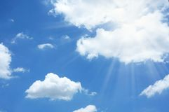 Sun ray light on blue sky background. Sun ray light on blue sky nature background stock images