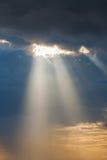 Sun ray light through down Royalty Free Stock Photography