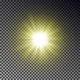 Sun ray light isolated on checkered background. Transparent glow yellow sunlight sky effect. Realist. Ic bright sun ray light pattern. Shine texture design royalty free illustration