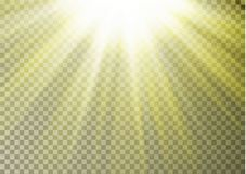 Sun ray light on top isolated on checkered background. Transparent glow yellow sunlight effect. Real. Istic bright sun ray light pattern. Shine texture design royalty free illustration