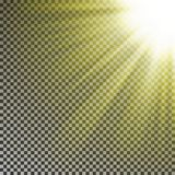 Sun ray light on top rigth corner. Transparent glow yellow sunlight effect isolated on checkered bac. Kground. Realistic bright sun ray light pattern. Shine stock illustration