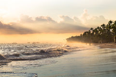 Sun ray in the morning through fog, Atlantic ocean Royalty Free Stock Photography