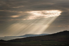 Sun ray over lake Stock Image