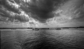Sun ray over sea. Sun ray casting over yacht in late afternoon Stock Photography