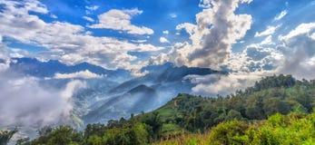 Sun ray panorama atop cloudbase Y Ty, Lao Cao, Vietnam Royalty Free Stock Photo