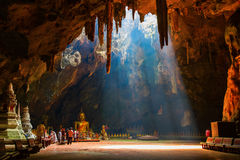 Sun ray. Sunlight shine through roof of the cave Royalty Free Stock Photography