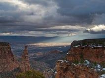 Sun Ray sur la vallée grande photo libre de droits