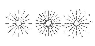 Sun rayonne tiré par la main, ensemble de rayons de soleil tirés par la main de vintage Illustration de vecteur d'isolement sur l illustration de vecteur