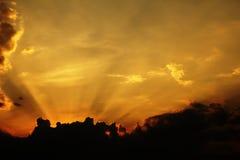 Sun rays. Orange sky with sun rays Royalty Free Stock Image