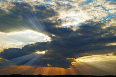 Sun rays. Sunset with clouds and rays Royalty Free Stock Photo
