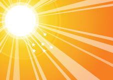Sun rays. With stars background, vector Royalty Free Stock Photo