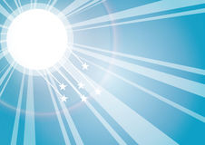 Sun rays. With stars background, vector Royalty Free Stock Photography