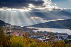 Sun rays above Åre Stock Photo