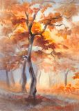 Sun rays in the autumn forest watercolor Royalty Free Stock Photo